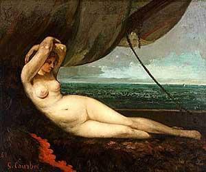 Густав Курбе. Женщина, лежащая у моря. 1868.