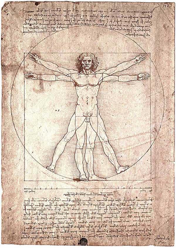 Леонардо да Винчи. Витрувианский человек. 1490-92.