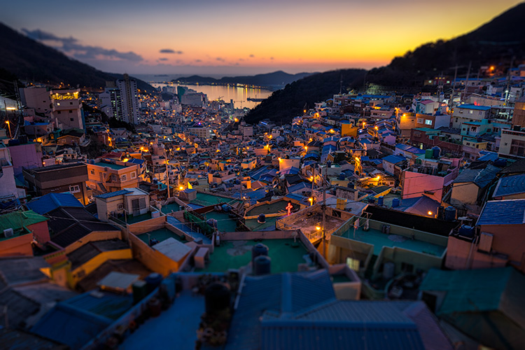 Busan, South Korea: Adding a slight tilt-shift blur effect to the edges of your photo can accentuate the sharpened areas. © Pete DeMarco